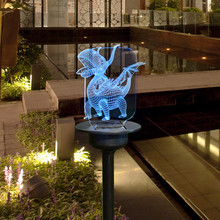 10#LED Solar Dinosaur Stake Light Lantern Solar Powered Pathway Lights Decorative Outdoor
