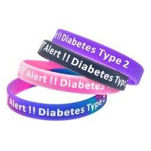 LISTE&LUKE TYPE 2 DIABETIC Silicone Rubber Medical Alert Emergency ID Wristband Bracelet For Women Men