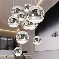 현대 공간 공 펜 던 트 조명 전기 도금 유리 펜 던 트 램프 산업 장식 홈 광택 매달려 조명 조명 luminaire