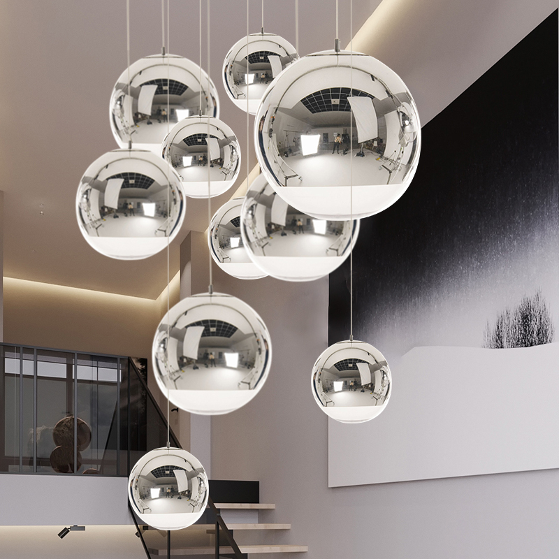 Modern Space Ball Pendant Lights Electroplating Glass Pendant Lamp Industrial Decor Home Lustre Hanging Light Lighting Luminaire