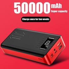 Powerbank bateria externa poverbank 2 usb led 30000 mah poverbank tipo c carregador de telefone portátil para oneplus xiaomi