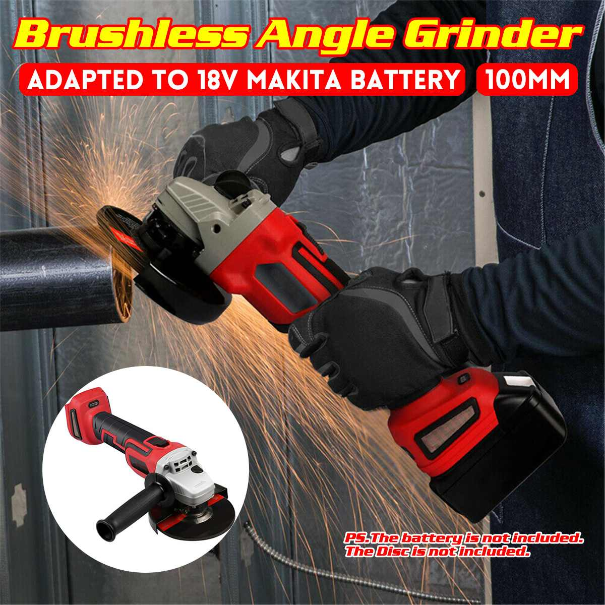 Cordless Electric Angle Grinder 100/125mm 0-8500 RPM Brushless Grinding Machine Metal Cutting Power Tools For 18V Makita Battery