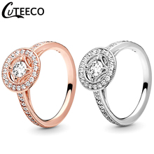CUTEECO 2019 New 30% 925 Silver Rose Gold Color Vintage Charm Rings For Women Wedding Ring Engagement Fashion Jewelry Gift