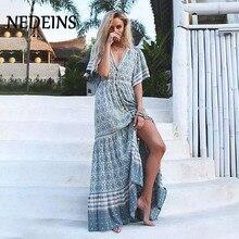 Fashion Print Boho Maxi Woman Dress Short Sleeve V Neck Vintage Beach D