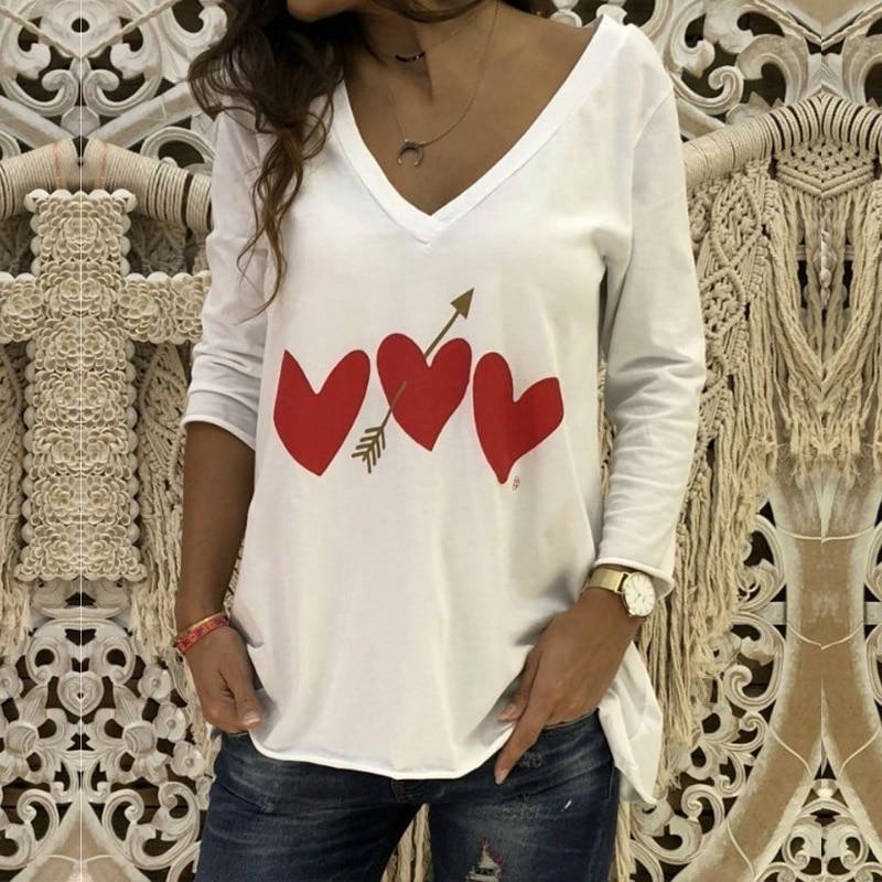 2020 Autumn Love Arrow Print Tops Women's Blosue Casual V Neck Blusas Female Long Sleeve Basic Tops Plus Size Tunic Shirts 5XL