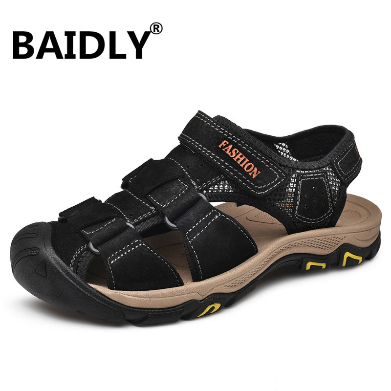 Men Sandals Men's Shoes Handmade Comfortable Retro Genuine-Leather Casual Soft Sewing title=