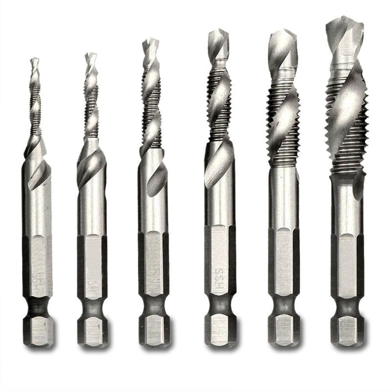 Step Drill 1/4'' Hex HSS High Speed Steel Thread Spiral Screw Drill Bits Metric Composite Tap Drill Bit Tap 6pcs/set Matkap Ucu
