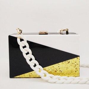 Image 5 - Bolso de mano con lentejuelas doradas y acrílicas para mujer, cartera tipo mensajero, con entramado geométrico, para noche, fiesta, negro y blanco