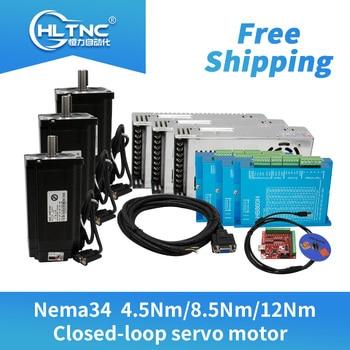2020 promotion  3 set Nema34 Closed-Loop stepper Motor 6A 4.5N.m/8.5Nm/12Nm+HBS860H Hybrid servo Driver 8A+MACH3  For CNC router