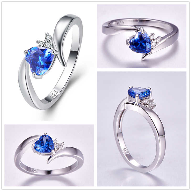 น่ารักใหม่แฟชั่นแหวน Multicolor Zircon แหวนเงิน 925 ขนาด 6 7 8 9 Elegant VINTAGE เครื่องประดับของขวัญ