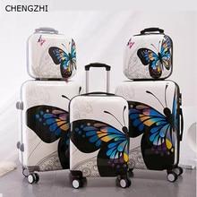 """CHENGZHI 2"""" 24 дюймов бабочка чемодан на колёсиках набор колеса для женщин Дорожный чемодан Spinner большой емкости кабина сумка на колесиках"""