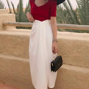 Image 4 - Twotwinstyle assimétrico do vintage lado divisão saias para o sexo feminino de cintura alta irregular ruched saia feminina moda 2020 roupas maré