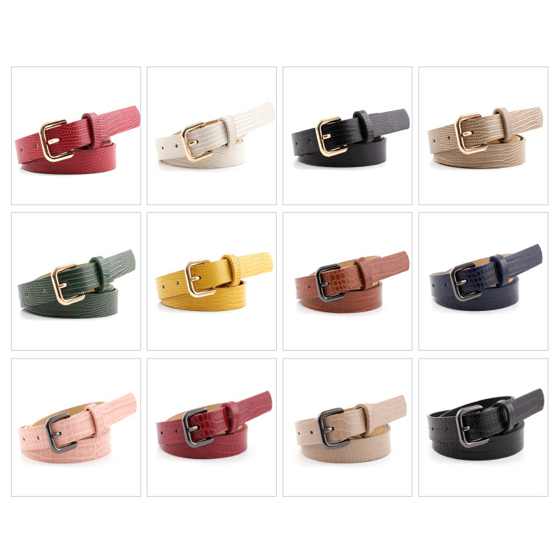 Women Belt Luxury Brand Casual Solid Color Ladies Alloy Pin Buckle  Belts Formal Women's PU Stripe Leather Belt Trousers