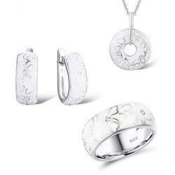 O design original do vintage liso branco cerâmica esmalte conjuntos de jóias de prata para as mulheres delicado padrão de flor conjunto de jóias de casamento