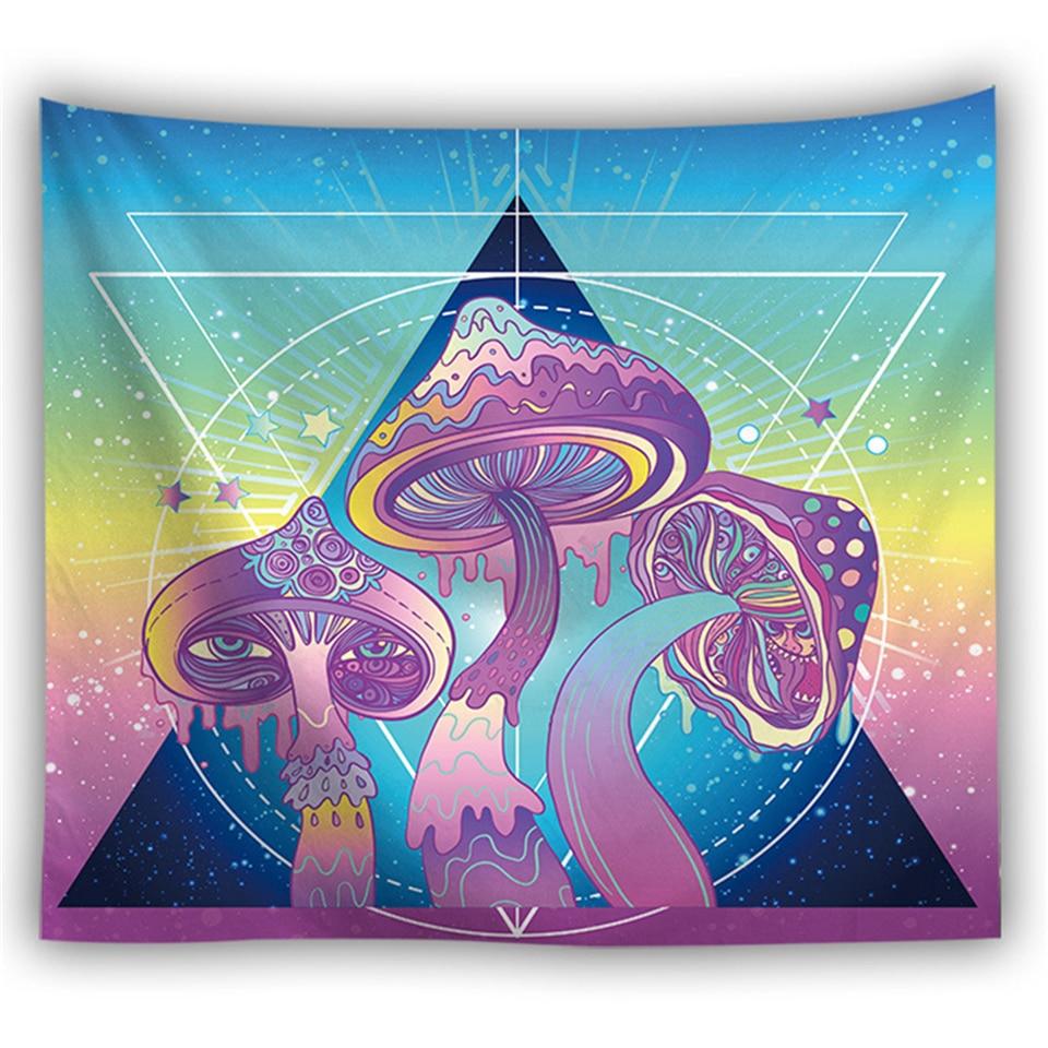 Hippie Psychedelic Colorful Huge Mushroom Tapestry Mandala Wall Hanging Trippy Scenery Carpet Dorm Headboard Decor Wall