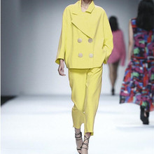 Light Yellow Women Business Suits Blazer Jacket+Pants Formal