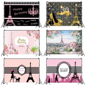 Image 1 - Laeacco Birthday Backdrops Paris Eiffel Tower Flowers Bike Customized Photography Backgrounds For Photo Studio Photophone Props