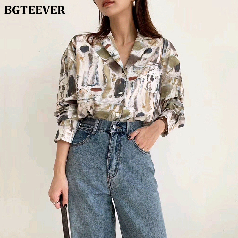 BGTEEVER Vintage V-neck Print Women Blouse Shorts Full Sleeve Loose Female Shirts Tops 2020 Spring Summer Elegant Ladies Tops