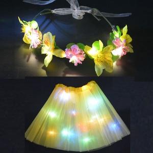 Женский светодиодный светильник-пачка, светящаяся юбка, венок с цветами, гирлянда, ободки, подарок, неоновая праздничная одежда, мини-юбка, украшения для свадьбы и дня рождения