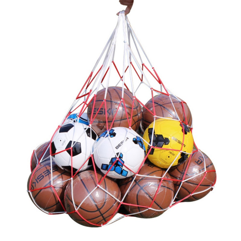 The  White-red Lattice Cord Basketball Sports Ball Net Ball Soccer Net Bag Portable Equipment Basketball Net Bags