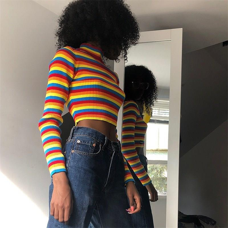 Nice Fall Fashion Colorful Stripe Basic Jumper Sweater Turtleneck Slim Sweater Striped Long Sleeve Knitted Short Sweater