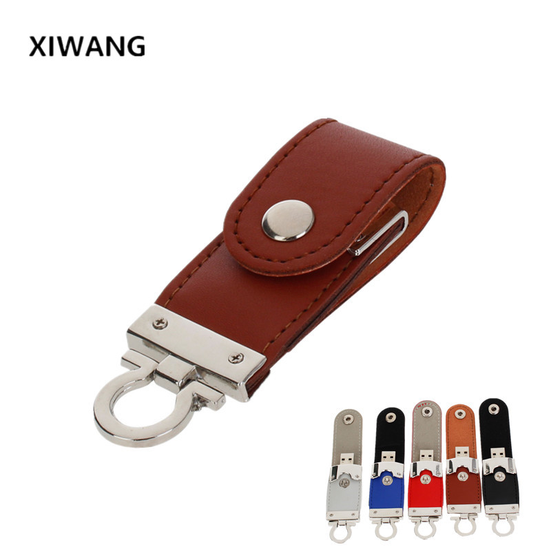 New luxury Leather USB flash drive 64gb 32GB metal keyring Pendrive 128GB 16GB 8GB 4GB Pen drive USB memory stick free shipping-in USB Flash Drives from Computer & Office