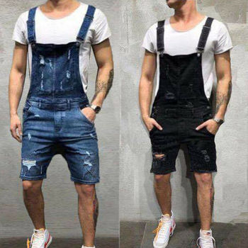 2020 Fashion Men Ripped Jeans Jumpsuits Shorts Summer Hi Street Distressed Denim One Piece Bib Overalls For Man Suspender Pants фото