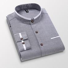 Roupas masculinas manga longa regular-ajuste botão-para baixo camisas grossas casual sólido oxford vestido camisa branca único remendo bolso suporte