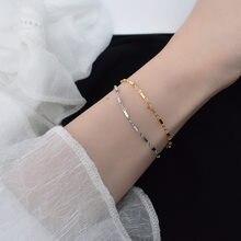 Bracelet en argent Sterling 925 pour femmes, chaîne cylindrique géométrique minimaliste, ajustable, mode étudiante, Couple, accessoires bijoux