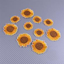 LETAOSK 10pcs Fabric Shimmery Yellow Sunflower Patch Iron-On Sew-On Embroidered DIY Craft Clothes Applique