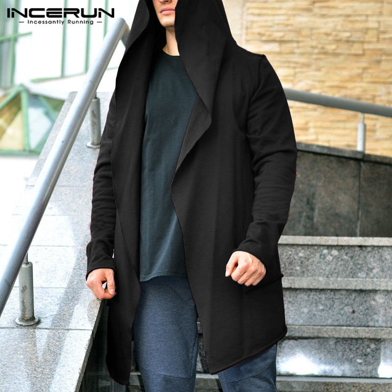 INCERUN Men Long Jackets Autumn Slim Hooded Trench Coat Mens Solid Color Thin Casual Windbreaker Cardigan Outerwear Hoodies