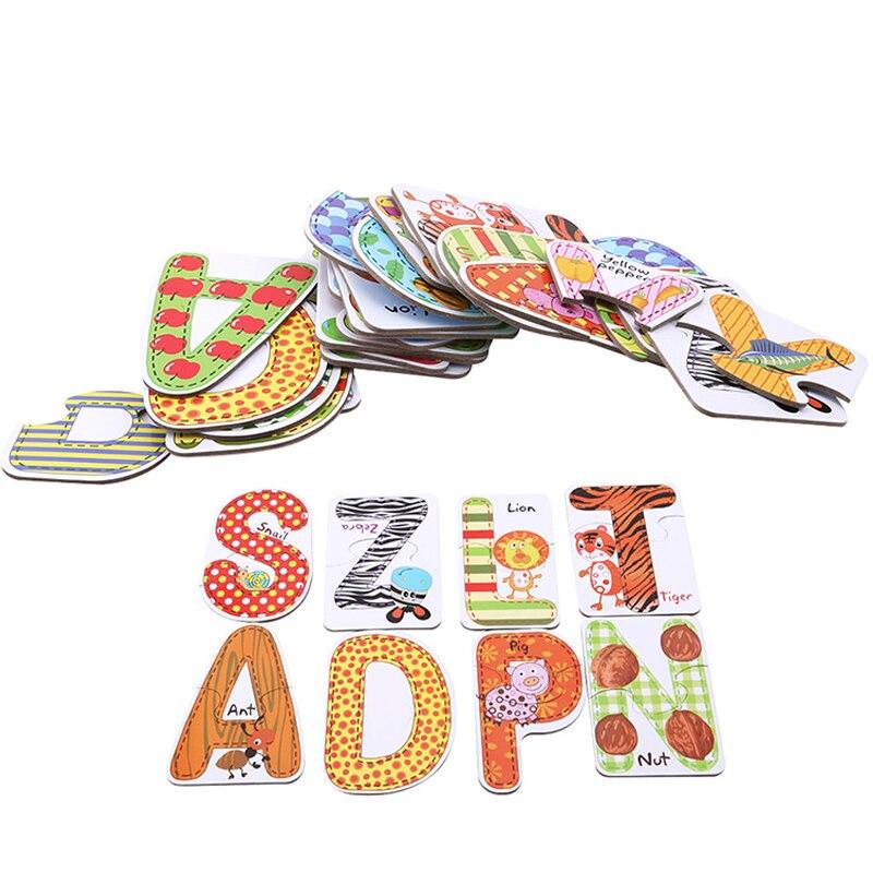 Juguetes de tarjetas serie de zoológico educativos para bebés alfabeto de 26 Uds para niños par de memoria de bebé juguetes de dibujos animados tarjetas educación preescolar