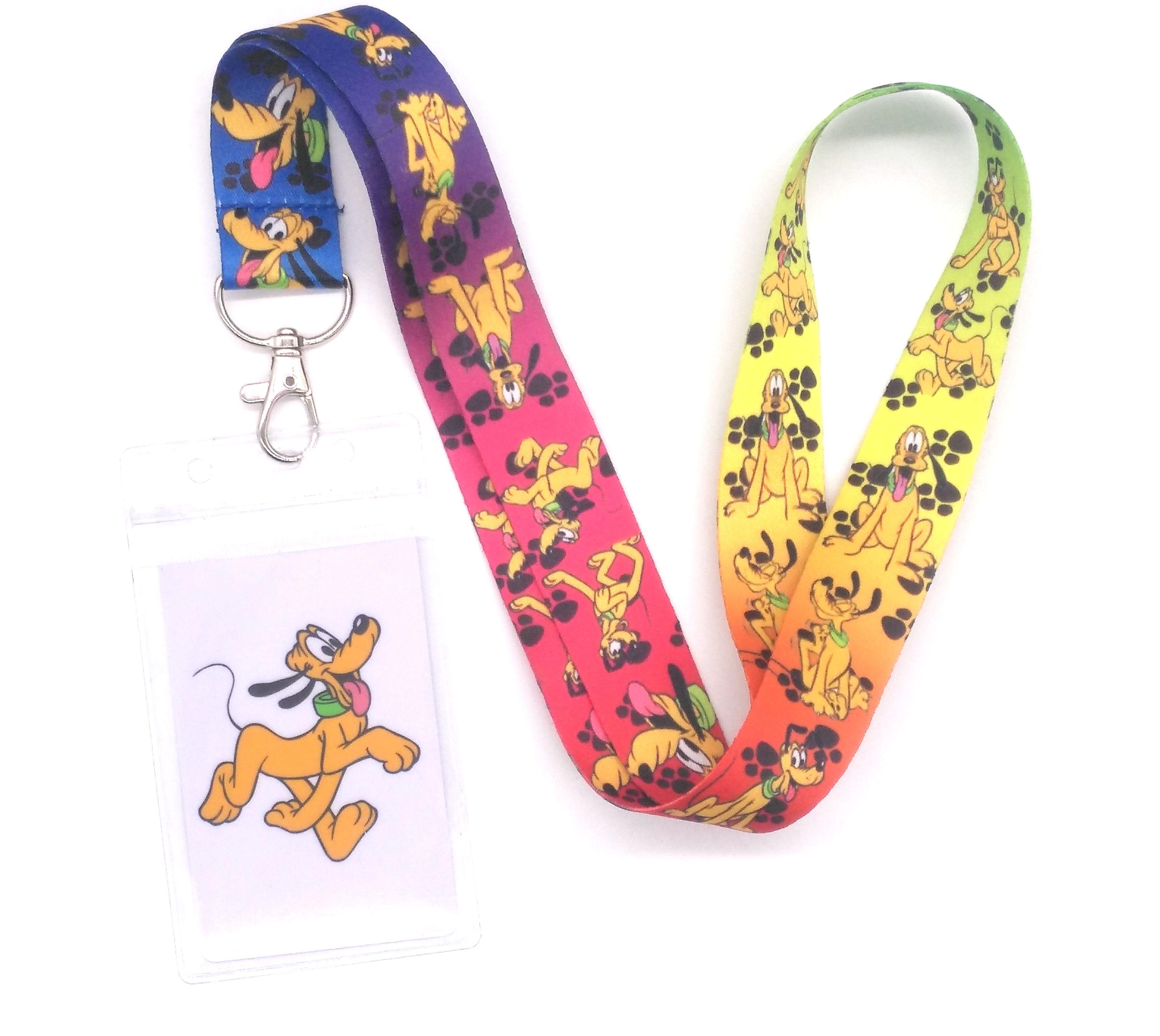 Hot 1 Pcs Cartoon Pluto Dog  Lanyard Key Lanyard Cosplay Badge ID Cards Holders Neck Straps Keyrchains