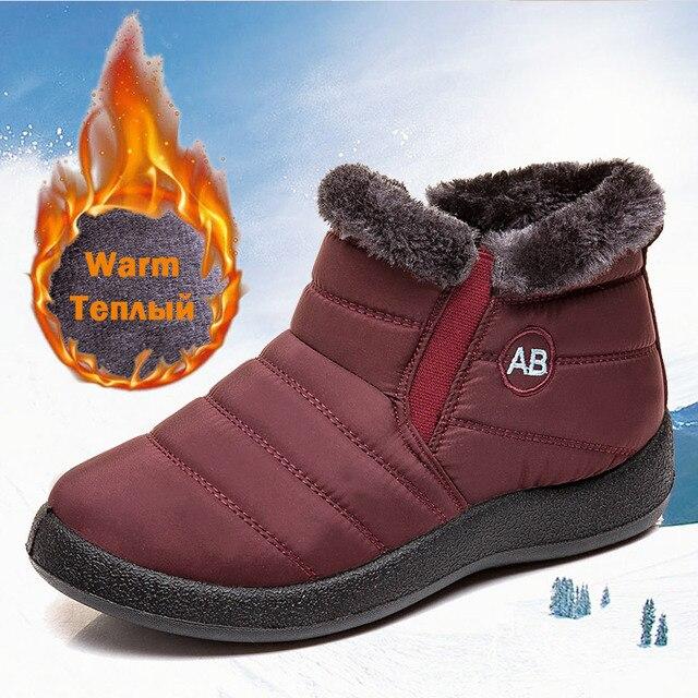 Botas femininas 2020 moda botas de neve à prova dwaterproof água para sapatos de inverno casual leve tornozelo botas mujer botas de inverno quente 4
