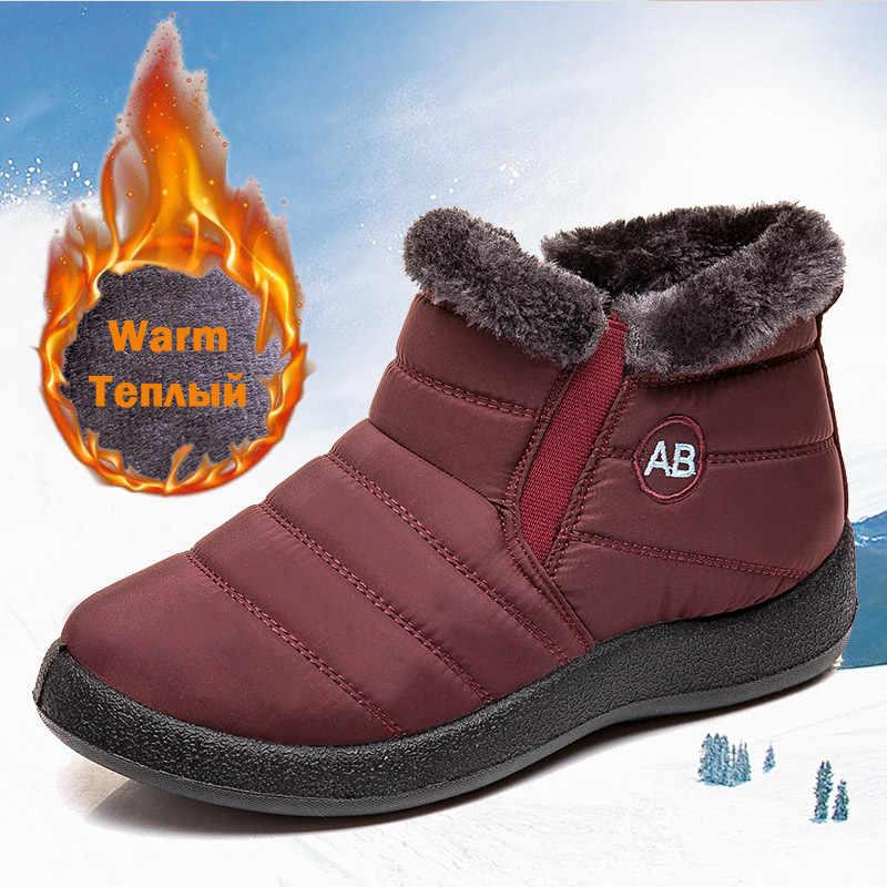 Botas de Mujer 2019 nuevas Botas de nieve impermeables para invierno zapatos de Mujer Casual ligeras Botas de Mujer Botas de invierno calientes
