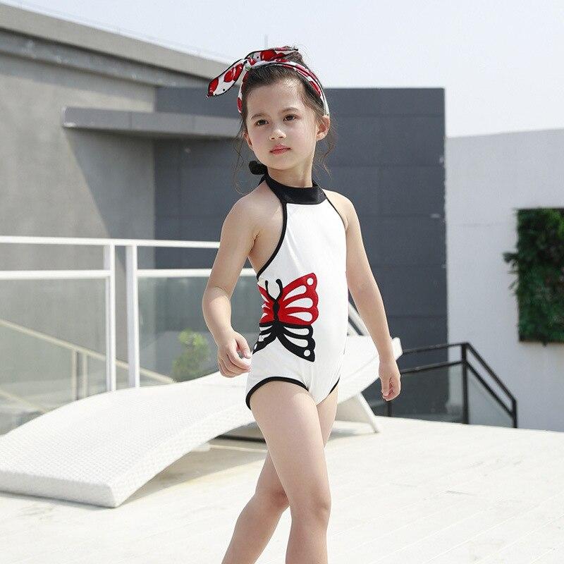KID'S Swimwear Bikini One-piece Girls Swimwear Small Children Butterfly Bubble Hot Spring Swimming Suit Send Swim Cap