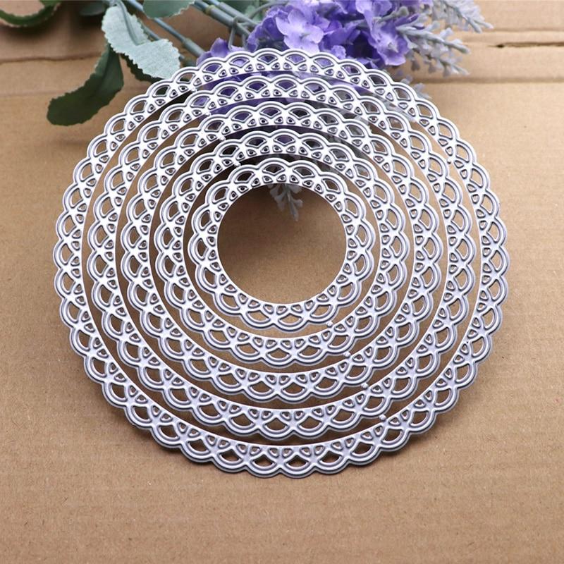 12cm Lace Round Die Circle Metal Cutting Dies Scrapbooking Die Cut for DIY Photo Album Card Craft Paper Embossing Supplies 4