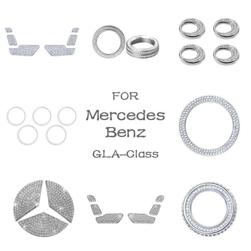 For Mercedes Benz Accessories GLA Class X156 AMG Bling Sticker Interior Parts Decorations Trim Refit Crystal Shining Silver