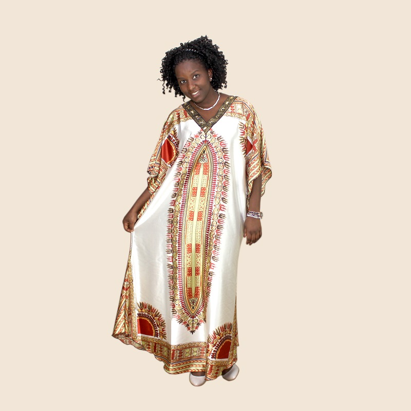 New African Tranditional  Long  Loose Dress Vintage Hippie Dashiki Caftan Ethnic Indian