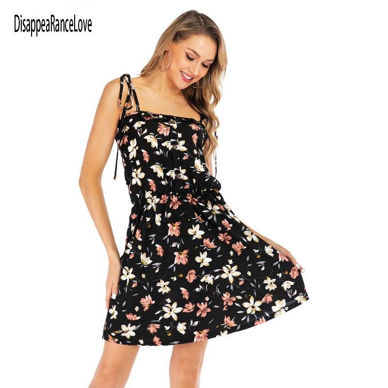 DisappeaRanceLove, винтажные черные женские Платья с цветочным принтом, французское шифоновое платье с коротким рукавом для женщин