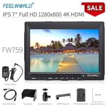 Feelworld fw759 7 Polegada dslr câmera campo monitor 4k hdmi entrada av ips hd 1280x800 display lcd vídeo auxiliar protable para câmera
