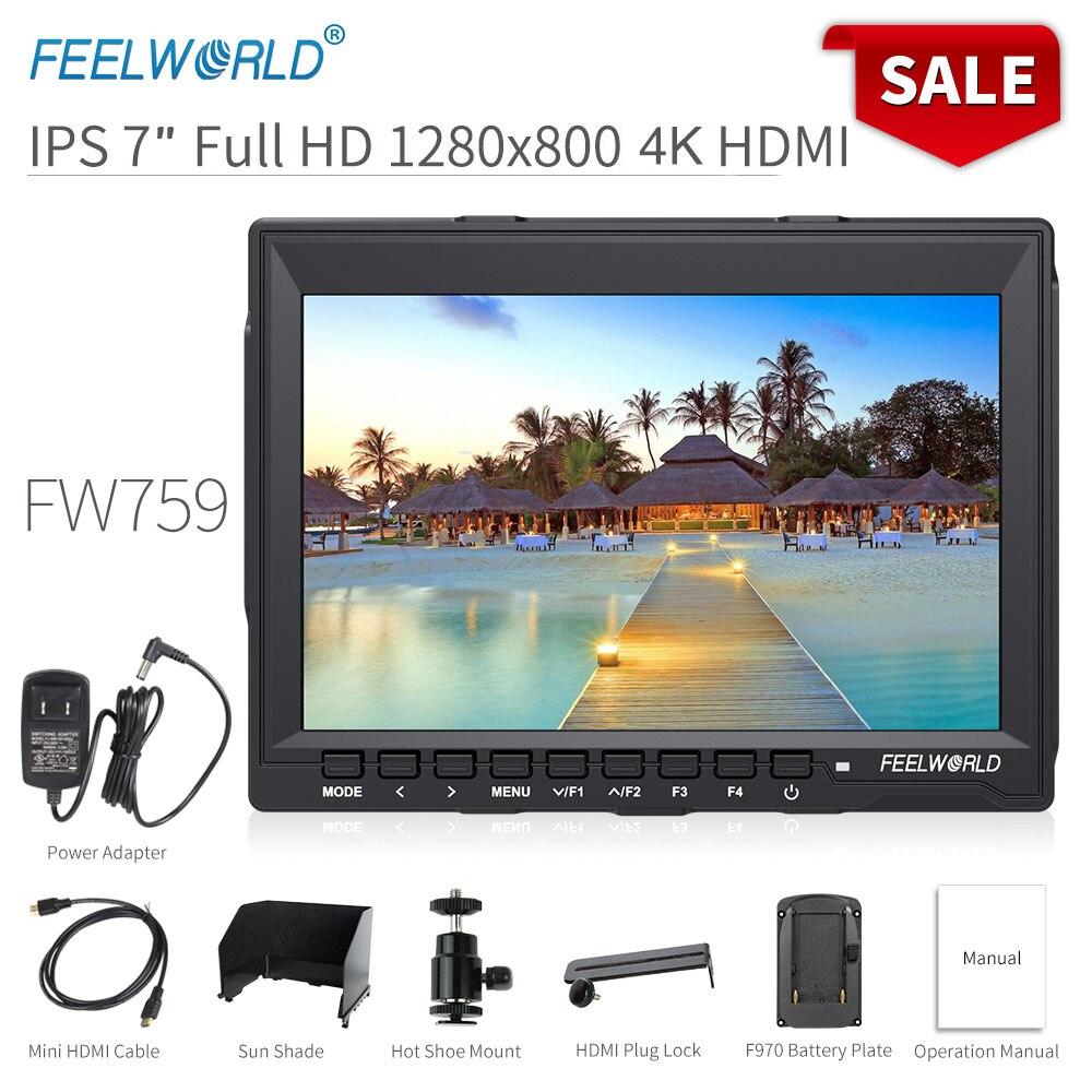 Feelworld fw759 7 polegada dslr câmera monitor de campo 4 k hdmi entrada av ips hd 1280x800 display lcd vídeo auxiliar para sony nikon canon