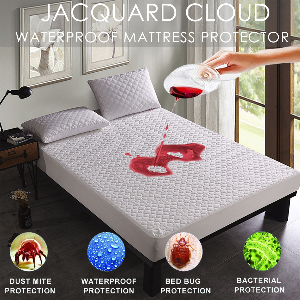 LFH Jacquard Cloudy Mattress Topper Bed Mattress Cover Colchao Waterproof Breathable Mattress Pad For Matress Protector