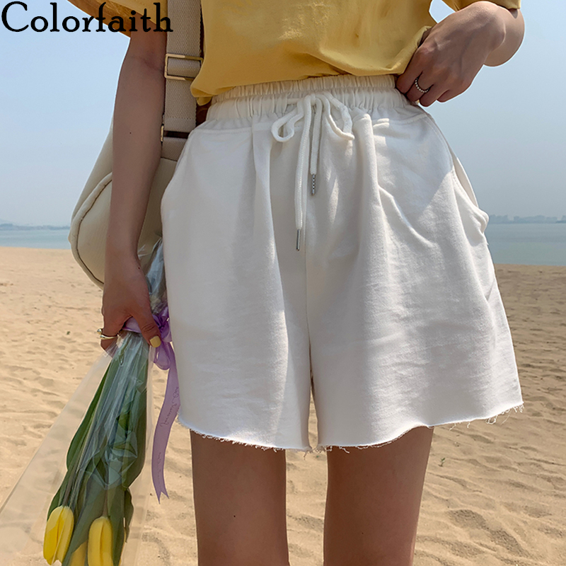 Colorfaith 2020 Summer Women Short Pants Wide Leg High Elastic Waist Casual Beach Loose  Joggers Lace Up Short Trousers P3948