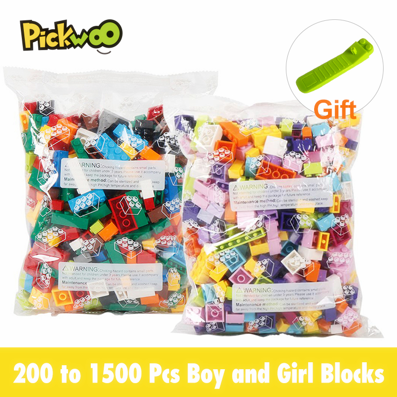 Строительные блоки Pickwoo D4 от 200 до 1500 шт., цветные блоки для мальчиков и девочек, маленький размер, город, творческие блоки «сделай сам», фигурки-модели россыпью, детские игрушки