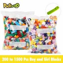 Pickwoo d4 200 a 1500 pçs blocos de construção menino e menina cor tamanho pequeno cidade diy tijolos criativos a granel modelo figuras crianças brinquedos