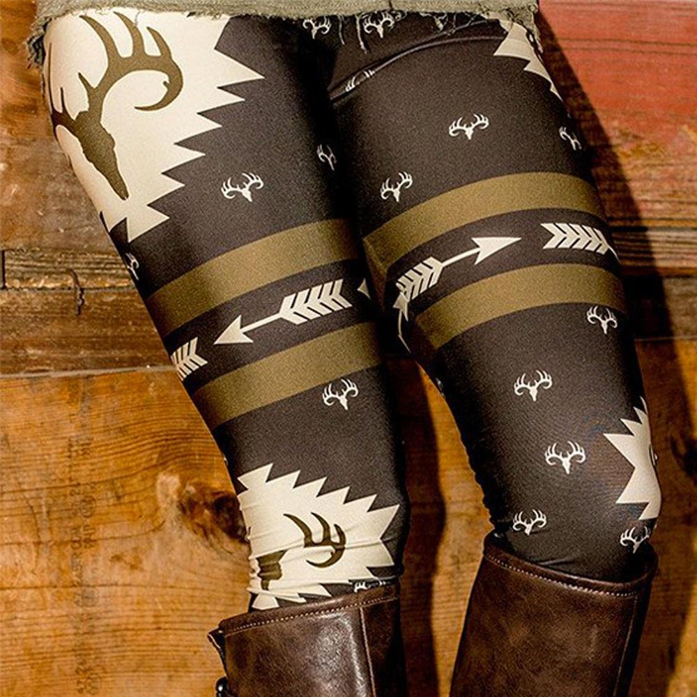 Women Deer Buck Printed Legging High Waist Legins Elastic Silm Fittness Pants Female Skinny Push Up Leggings