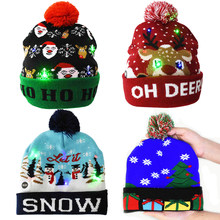 Gorros de Navidad con luces LED para niños y adultos, gorro de punto con diseño de árbol de Navidad y muñeco de nieve, colorido, regalo de Año Nuevo, 1 unidad