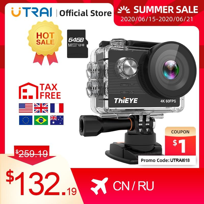 "ThiEYE Action Camera 4K 60fps T5 Pro Underwater 60M Waterproof WiFi 2.0"" Ultra HD Sport Cam Touch Screen Video Sports Camera"