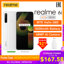 realme 6i Global Version 6 i Mobile Phone 4GB RAM 128GB ROM 5000mAh Battery Helio G80 6.5